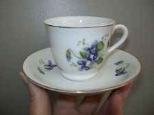 2 Sets Vintage Purple Johnny Jump Up Violet Demitasse Tea Cup Saucer Gold Trim