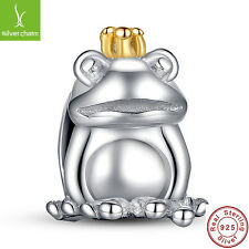 New S925 Sterling Silver Frog Prince Animal Pet Charm With 14 Gold Crown Jewelry
