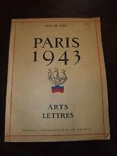 PARIS 1943 - ARTS LETTRES  VILLE DE PARIS B12
