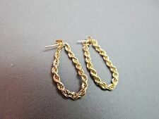 "14k Yellow Gold Hoop Chain Earrings Rope Twist 1"" Long Marked Post Backs NICE"