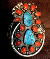 Navajo Hardy Thompson Gem Qual Morenci Turquoise Coral Bracelet Atkinson Trading