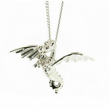925 Sterling Silver Flying Dragon Pendant - Made in England *RRP £29.99*
