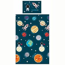 SOLAR SYSTEM SINGLE DUVET COVER SET NEW BOYS SPACEMAN BEDDING OUTER SPACE
