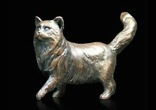 Small Long Haired Cat Solid Bronze Foundry Cast Sculpture Michael Simpson [926]