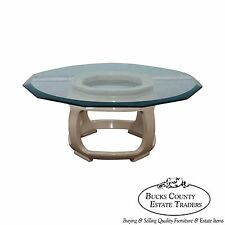 Drexel Heritage Asian Inspired Lacquered Base Glass Top Coffee Table