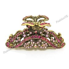 Elegant Wavy Pink Metal Alloy Rhinestone Crystal Hair Claws Clips Free Shipping