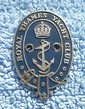 VINTAGE 1940s ROYAL THAMES YACHT CLUB CAR BADGE-LONDON RIVER SAILING EMBLEM RARE