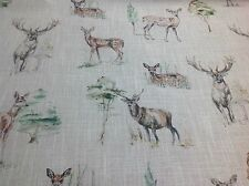 Clarke and Clarke DEER/STAGS  Linen Blend Fabric Curtains/ Roman Blinds/Cushions