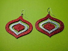 """Christmas Red Ornament Sparkle Dangle Earrings Glitter Holiday 3D Large Big 2.5"""""""