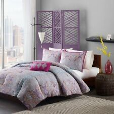 4 pc Bedding Comforter Set Full Queen Size Bed Bag Purple Pink Gray Blue Paisley