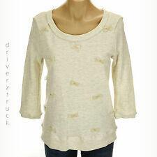 LAUREN CONRAD New SMALL IVORY Marshmallow FRENCH TERRY Pullover TOP Chiffon BOWS