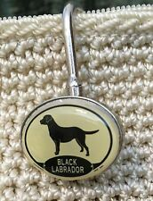 Black Labrador Dog Resin Metal Charm Purse/Backpack Key Ring Finder Key Hook
