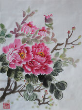 Oridental art Hand Painted  Chinese brush ink watercolor painting  peony signed
