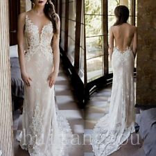 Champagne Vintage Lace Appliques Wedding Dress Backless Mermaid Bridal Gown New