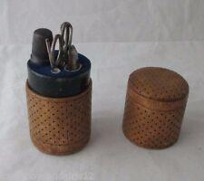 5pc Leather ETUI LADIES SEWING COMPANION; Antique c1880 Original tools.
