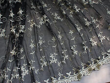 "53""*1Y Black Mesh with Light Gold Embroidered Flower Lace Fabric Dress Fabric"