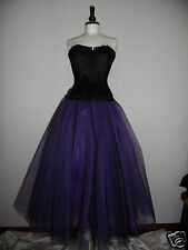 Womens NEW Long Black Purple tutu skirt 16 LINED goth whitby fairy gypsy witch M