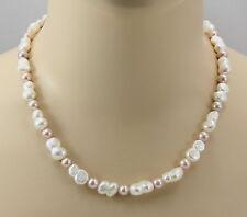 Perlenkette echte China-Zuchtperlen weiß und rosa Halskette für Damen 49 cm