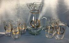 CLEAN Set -- Pitcher + 6 Glasses: 50th Anniversary Gold Trimmed Vintage