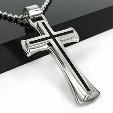 New Gift Unisex's Mens Black Silver Stainless Steel Cross Pendant Necklace Chain