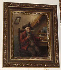 OIL ON CANVAS OF MAN SMOKING AND DRINKING Signed Leon Dussart 1903 Inv # 12531