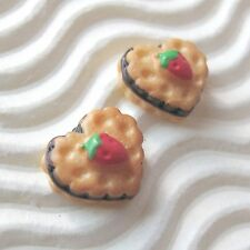 "30 x 3/8"" Strawberry Cake/Biscuit in Heart Shape Resin Flatback/Miniature SB559"