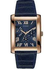 Guess Men's Rose Gold Tone Rectangular Blue Leather Strap Watch - W0609G2