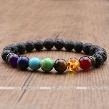 Reiki 7 Chakra Gemstone Lava Rock Stone Spacer Healing Bead Bangle Bracelet Gift