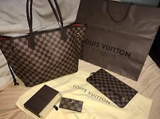 AUTH Louis Vuitton Neverfull MM Ebene w/ Pouchette, Multicles, and orig receipt!