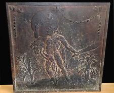 """ANCIENNE PLAQUE DE CHEMINÉE EN FONTE XVIIIe siècle """" ALLÉGORIE D'HERCULE """""""
