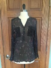 Eddie Bauer Seattle Top S M 100% Silk Floral Semi Sheer Tunic Gray Blouse Shirt
