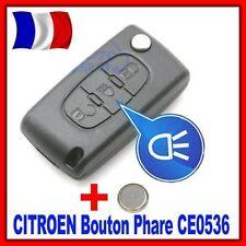 Coque PLIP Télécommande Clé Boitier CITROEN C4 Picasso Bouton Phare CE0536 +Pile
