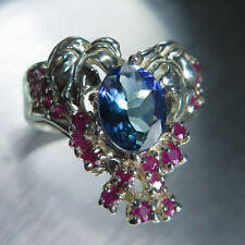 1.65ct Natural Tanzanite & rubies Sterling silver autumn bouquet ring 7, resize