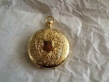 gold toned faux pocket watch pill holder secret compartment pendant