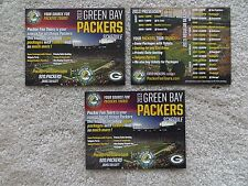 Lot of 3 Green Bay Packers 2013 Schedule Cards =