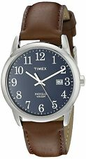 Timex TW2P75900 Men's Indiglo Easy Reader Brown Leather Band Blue Dial Watch