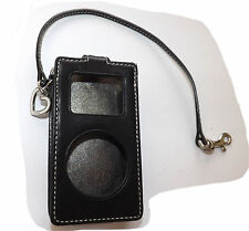 Authentic Coach Black Leather Ipod Case with Wristlet & Heart Charm