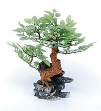 "Penn Plax Bonsai Tree on Rock w/Silk Leaves Fish Aquarium Ornament 10"" RR970"