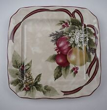 222 Fifth (PTS) YULETIDE CELEBRATION-FRUIT Square Appetizer Plate(s) EXCELLENT