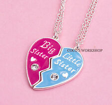 BFF BIG LITTLE SISTER HEART CHARMS 2 IN 1 PENDANT NECKLACE SET GIRL GIFT