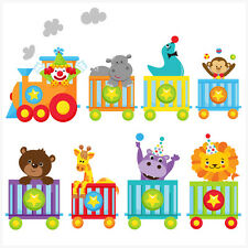 Childrens circo animali treno Wall art Adesivi facile Elefante Leone Tigre CLOWN