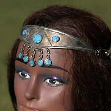 Goldplated Turkman Tribal CROWN Headpiece BellyDance Belly Dance Turquoise 619w5