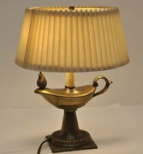 """Vintage 12"""" tall Gravy Boat Flame Brass Table Magic Lamp"""