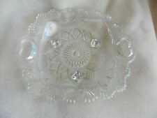 "Pasari Indonesia  9"" Square Candy or Mint Dish Pressed Glass Vintage Footed"