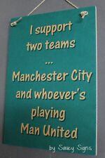 Manchester City v Manchester Man United EPL Football Soccer Wooden Wall Sign