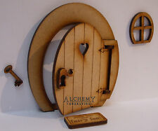 Opening Fairy Door 3D Oval Wooden Craft Kit with Fairy Window, Doormat & Key