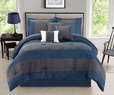 7 Piece Navy Blue Gray Micro Suede Patchwork Comforter Set Queen Size New
