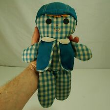 Fisher Price Cholly Blue Plaid Boy Doll Rattle Vintage 1977