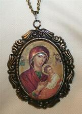 Leaf Rim Angels Saints with Madonna Mary Glass Cameo Medal Silvertone Necklace