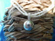 Vintage Double Seed Pearl Necklace with Tahitian Pearl with Diamond Bail